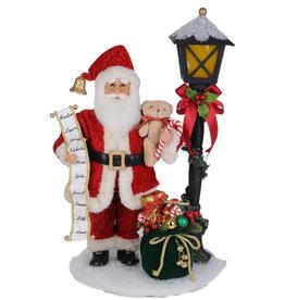 Karen Didion Lighted Christmas Street Light Santa 23H