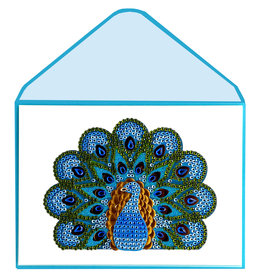 PAPYRUS® Thank You Card Blue Peacock w Gems Judith Leiber Couture