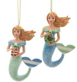 Kurt Adler Whimsical Mermaid Ornaments Blue n Green Set of 2