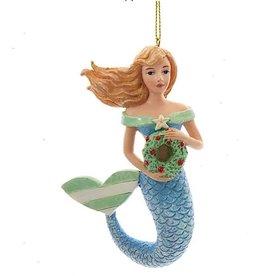 Kurt Adler Whimsical Mermaid Ornaments Blue n Green w Wreath