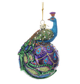 Kurt Adler Nobel Gems Peacock Glass Ball Ornament