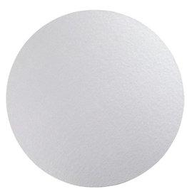 Caspari Luster Round Felt-Backed Placemat Silver