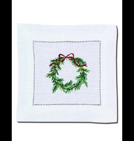 Peking Handicraft Christmas Linen Cocktail Napkin Embroidered Wreath