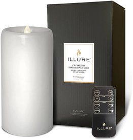 Illure Unscented Flameless LED Pillar Wax Candle 4x8 White