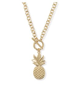 Periwinkle by Barlow 18 Inch Gold Pineapple Necklace