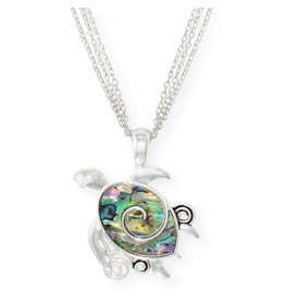Periwinkle by Barlow 17 Inch Sea Turtle Necklace With Abalone Inlay