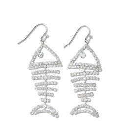 Periwinkle by Barlow Shimmering Silver Bonefish Crystal Earrings