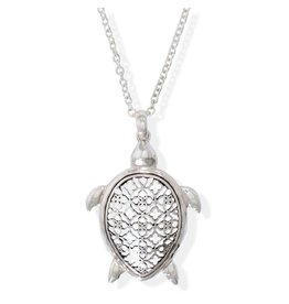 Periwinkle by Barlow 17 Inch Filigree Silver Turtle Pendant Necklace