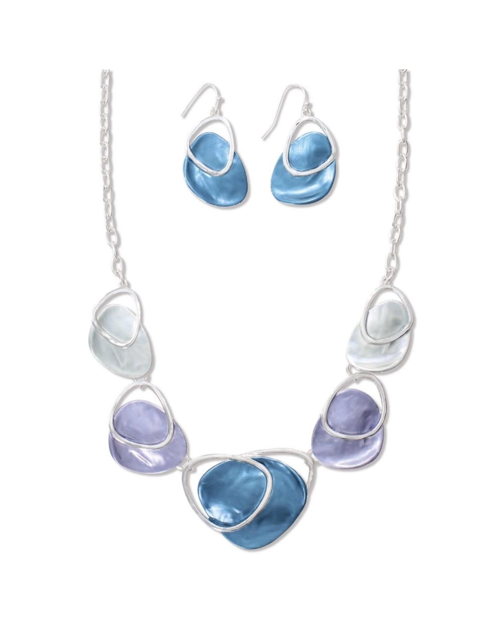Periwinkle by Barlow 18 Inch Cool Blue Purple Teal Enamel Necklace Set
