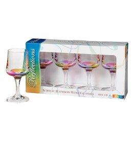Merritt International Acrylic Rainbow Wine Glasses 8oz Set Of 4