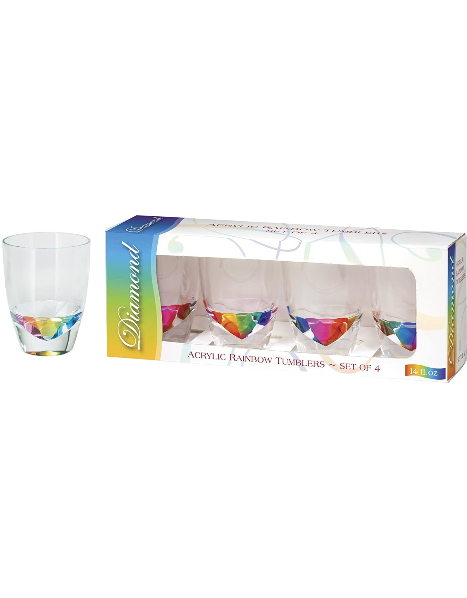Merritt International Acrylic Rainbow DOF Glasses 14oz Gift Set Of 4
