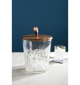 Mud Pie Chill Textured Glass Ice Bucket w Lid