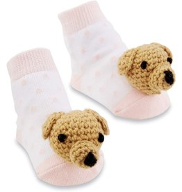 Mud Pie Baby Gifts Pink Dog Rattle Toe Socks