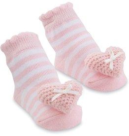 Mud Pie Baby Gifts Pink Heart Rattle Toe Socks
