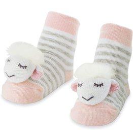 Mud Pie Baby Gifts Pink Sheep Rattle Toe Socks