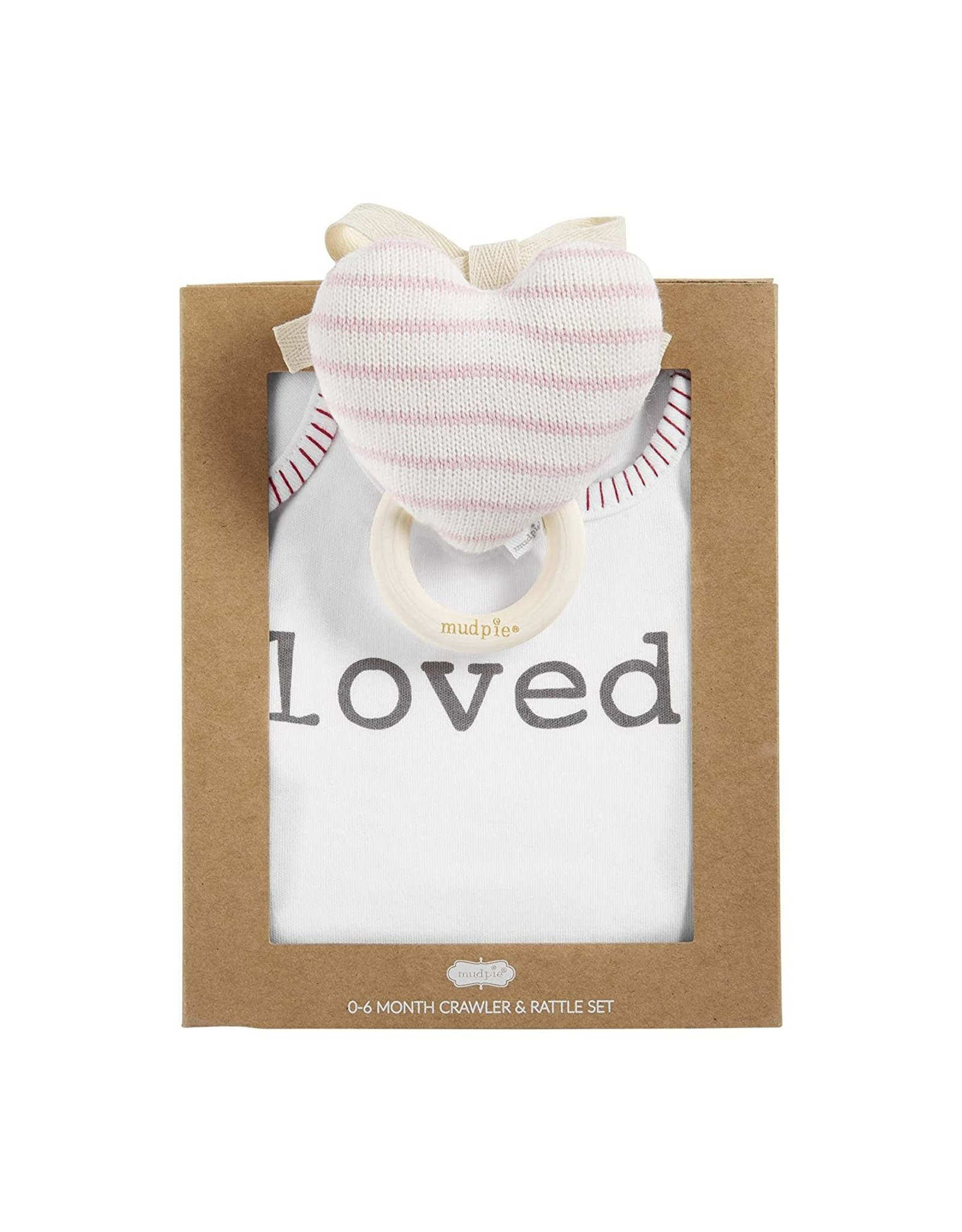 Mud Pie Baby Gifts Loved Crawler And Rattle Set 0-6 Month