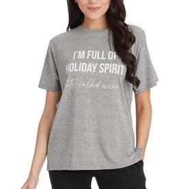Mud Pie Holiday Graphic Tees Full Of Holiday Spirit - Wine T-Shirt S-M
