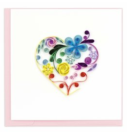 Quilling Card Quilled Floral Rainbow Heart Greeting Card
