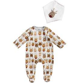 Mud Pie Kids Gifts Reindeer Sleeper And Bib Set 0-3 Months