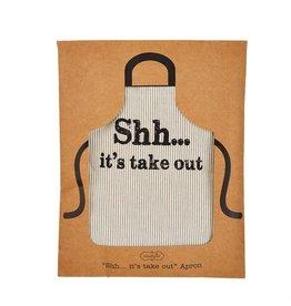 Mud Pie Printed Grain-sack Apron -  Shh Its Take Out