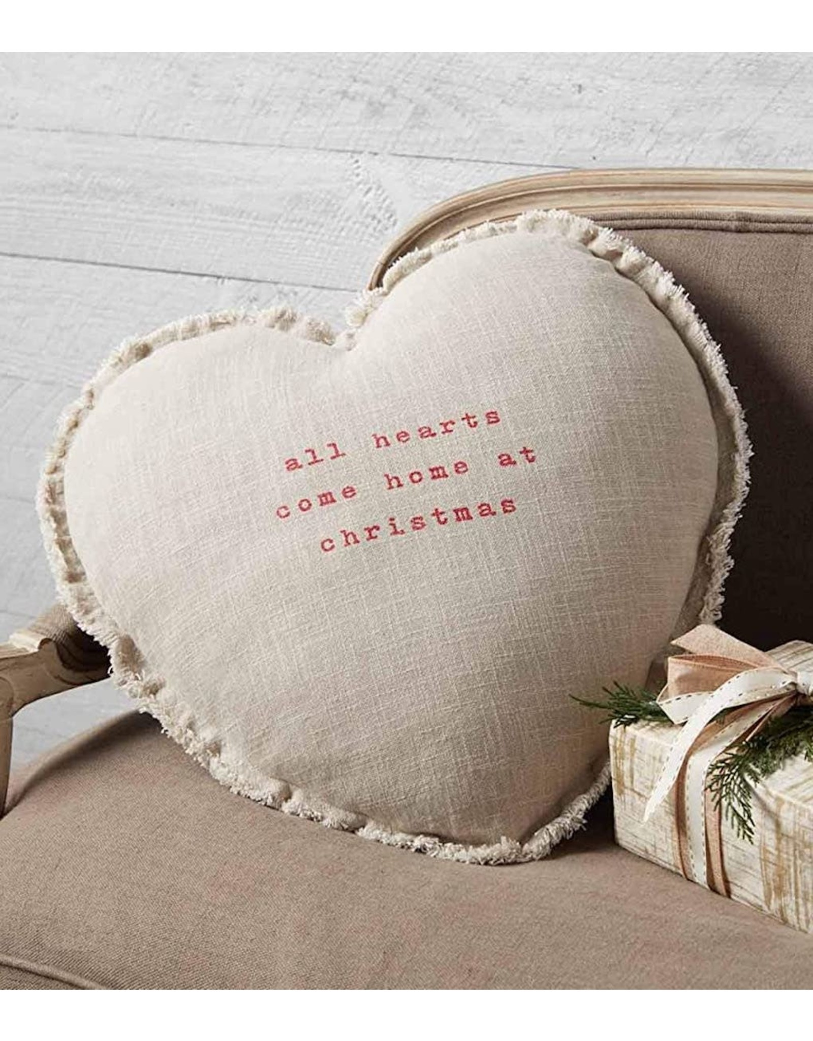 Mud Pie All Hearts Come Home at Christmas Pillow