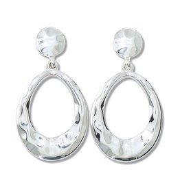Periwinkle by Barlow Silver Hammered Teardrops Earrings
