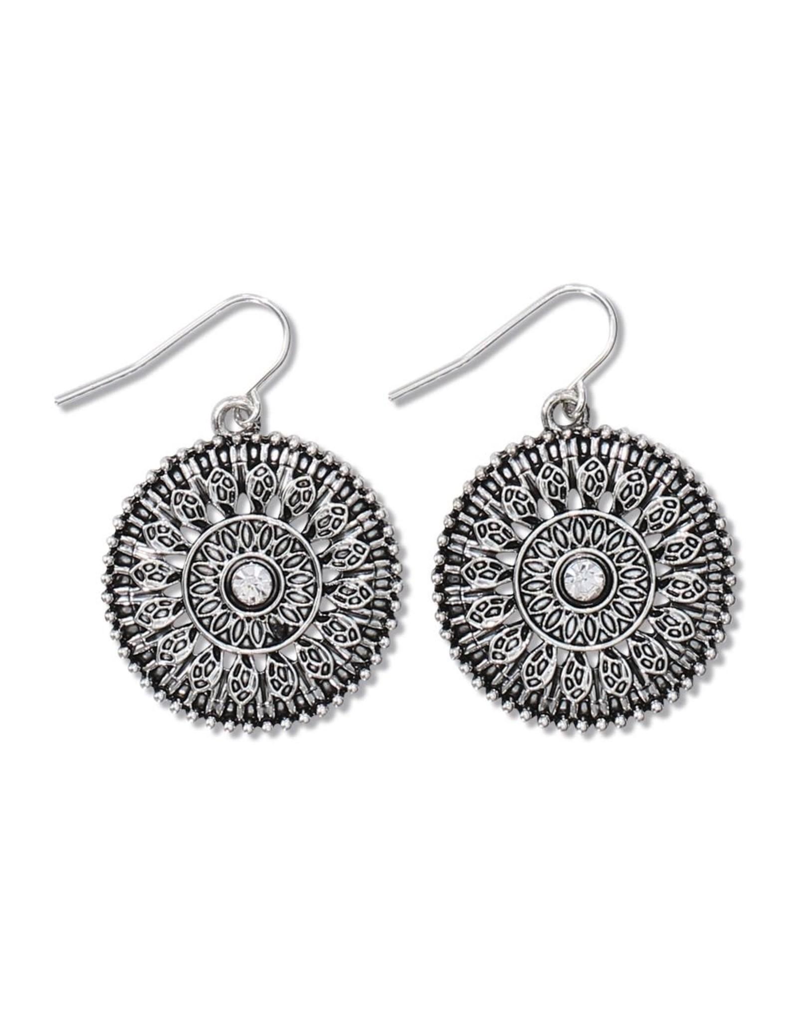 Periwinkle by Barlow Antiqued Silver Crystal Disc Earrings
