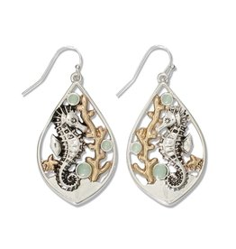 Periwinkle by Barlow Two Tone Seahorse Coral Mint Earrings