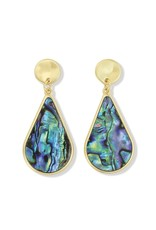 Periwinkle by Barlow Abalone Inlay Gold Drop Earrings