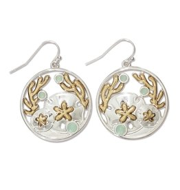 Periwinkle by Barlow Two Tone Sand Dollar Coral Mint Earrings