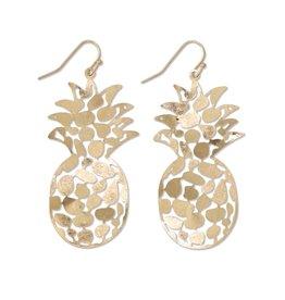 Periwinkle by Barlow Gold Metal Pineapple Earrings