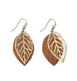 Periwinkle by Barlow Gold Leaf Wood Leaf Background Earrings