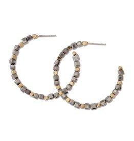 Periwinkle by Barlow Gold Hematite Beaded Hoop Earrings