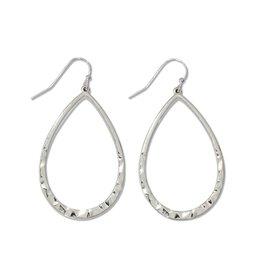 Periwinkle by Barlow Silver Hammered Teardrop Earrings