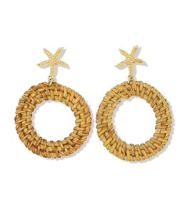 Periwinkle by Barlow Gold Textured Starfish Circle Rattan Drops Post Earrings