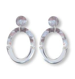 Periwinkle by Barlow Acrylic Silver Stud Drop Earrings