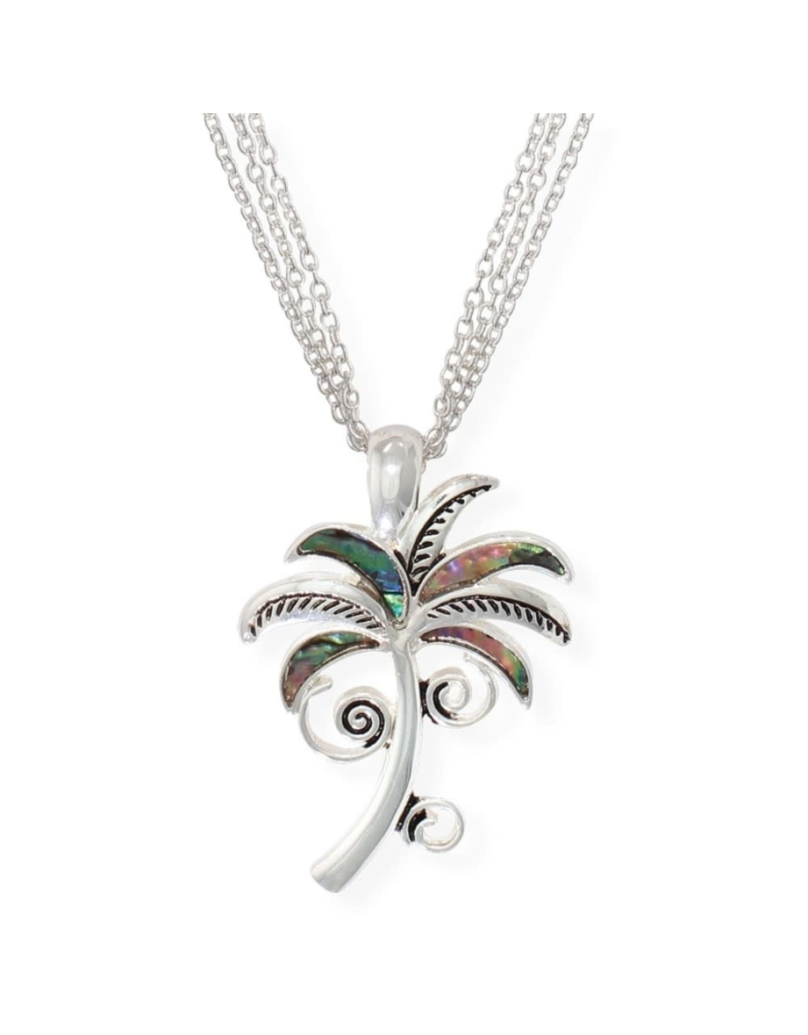 Periwinkle by Barlow 17 Inch Palm Tree Abalone Inlay Necklace