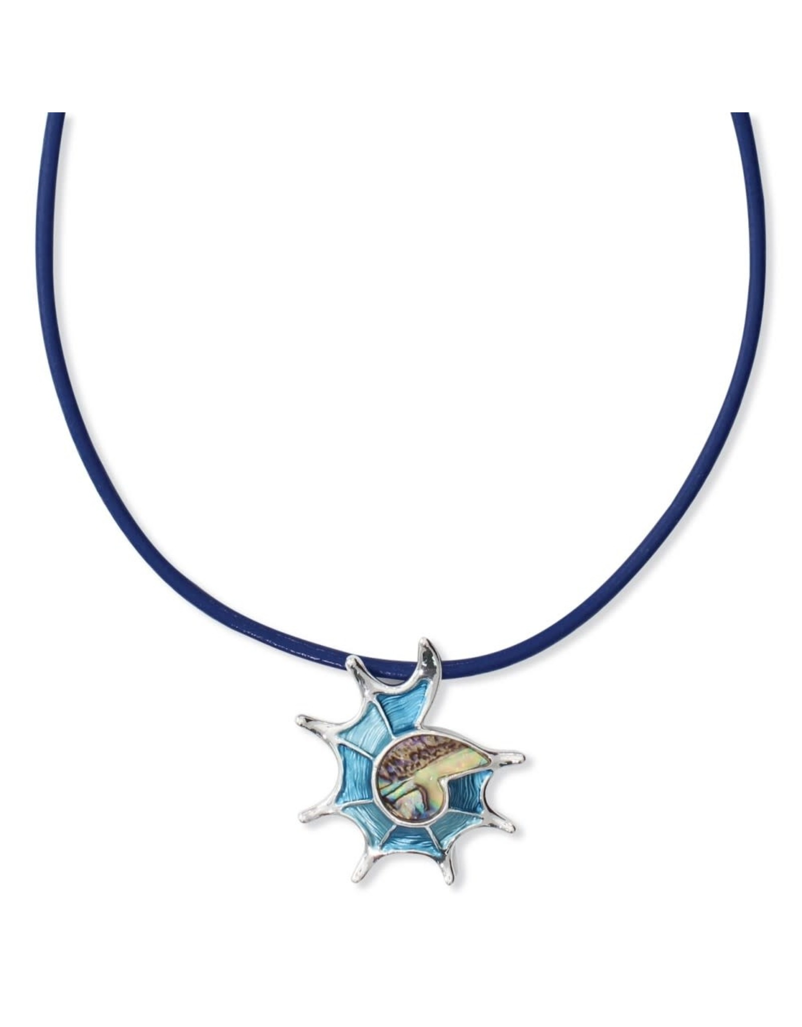 Periwinkle by Barlow 16 Inch Abalone Conch Shell Blue Cord Necklace