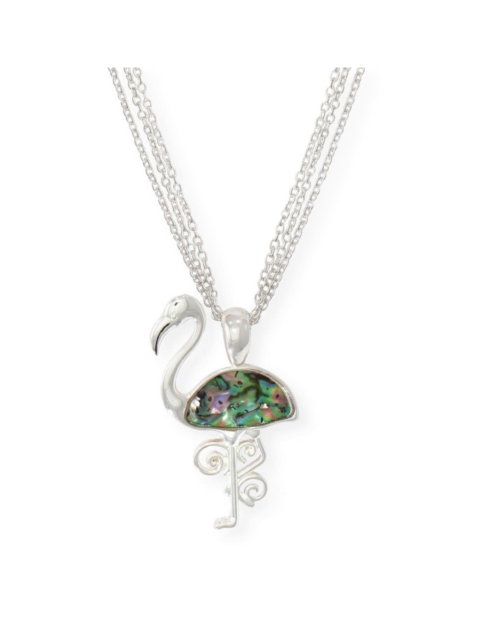 Periwinkle by Barlow 17 Inch Bright Silver Flamingo Abalone Inlay Necklace