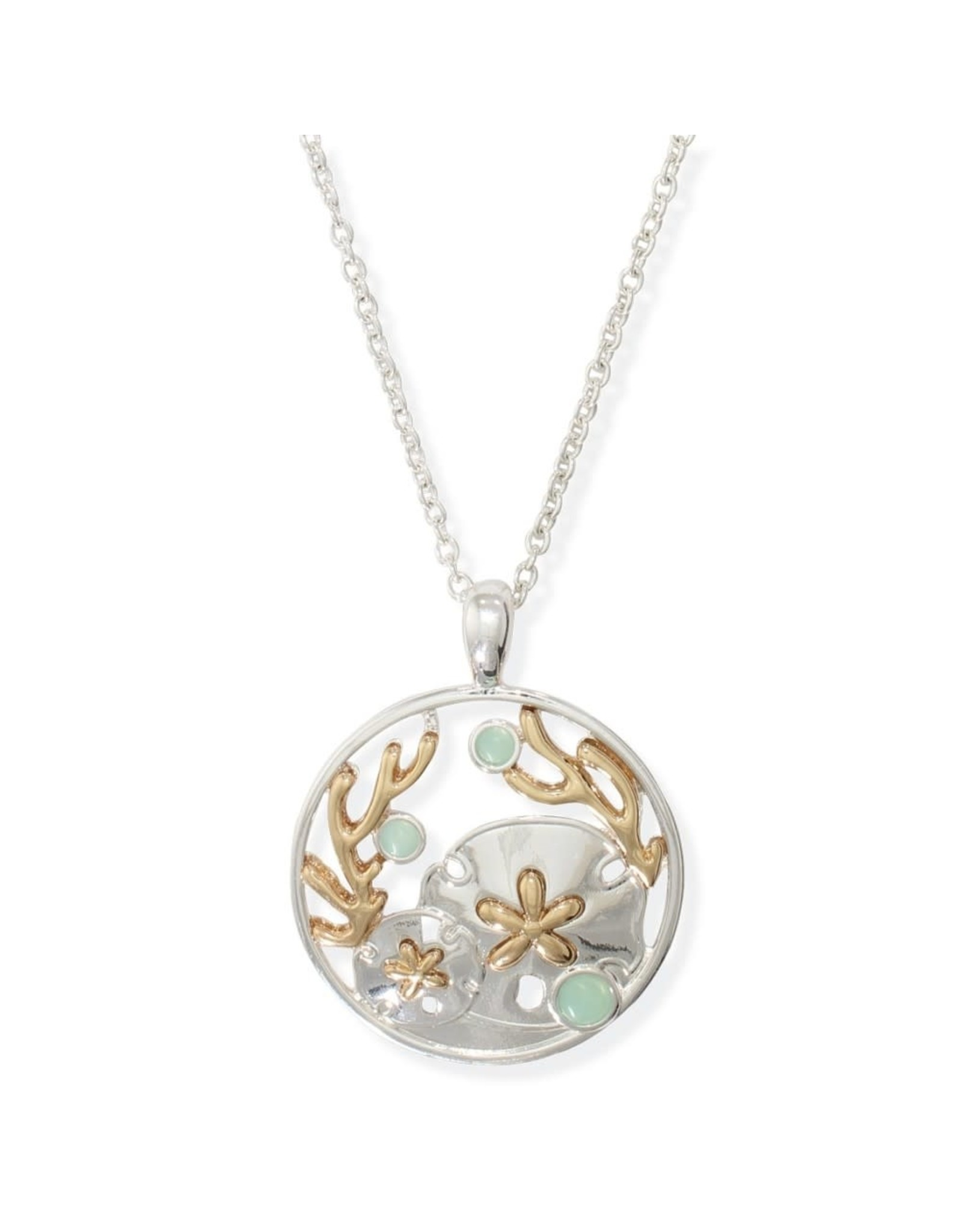 Periwinkle by Barlow 17 Inch Two Tone Sand Dollar Mint Accent Necklace