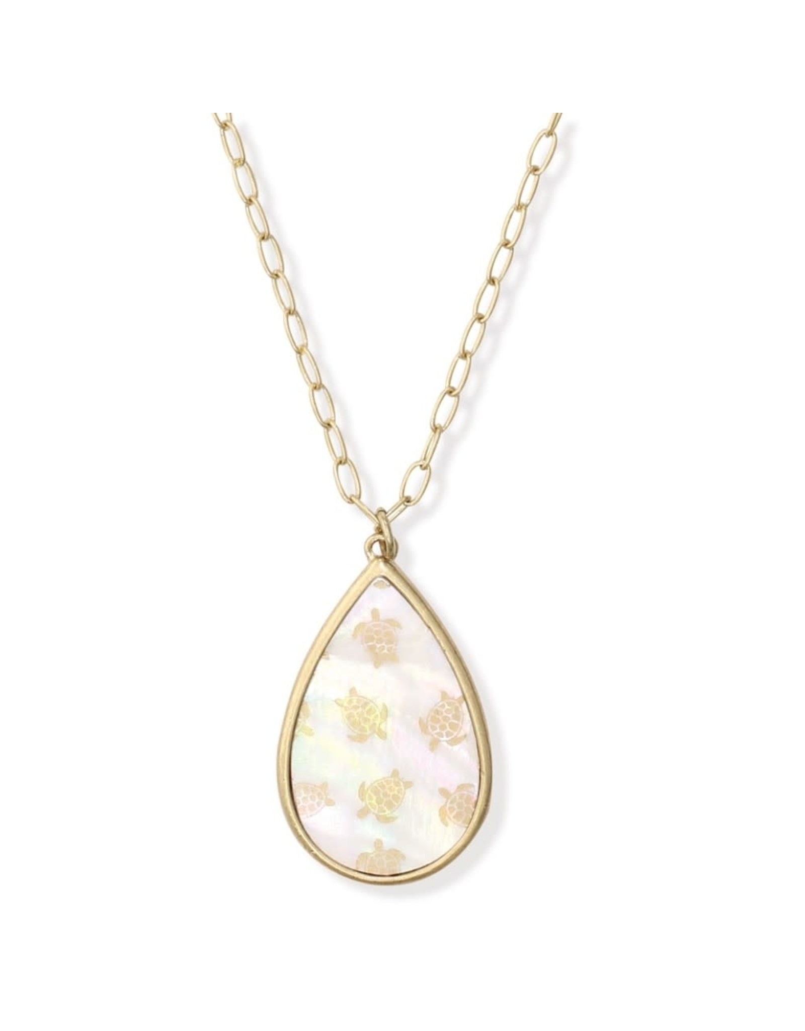 Periwinkle by Barlow 16  Inch MOP And Turtle Print Teardrop Necklace