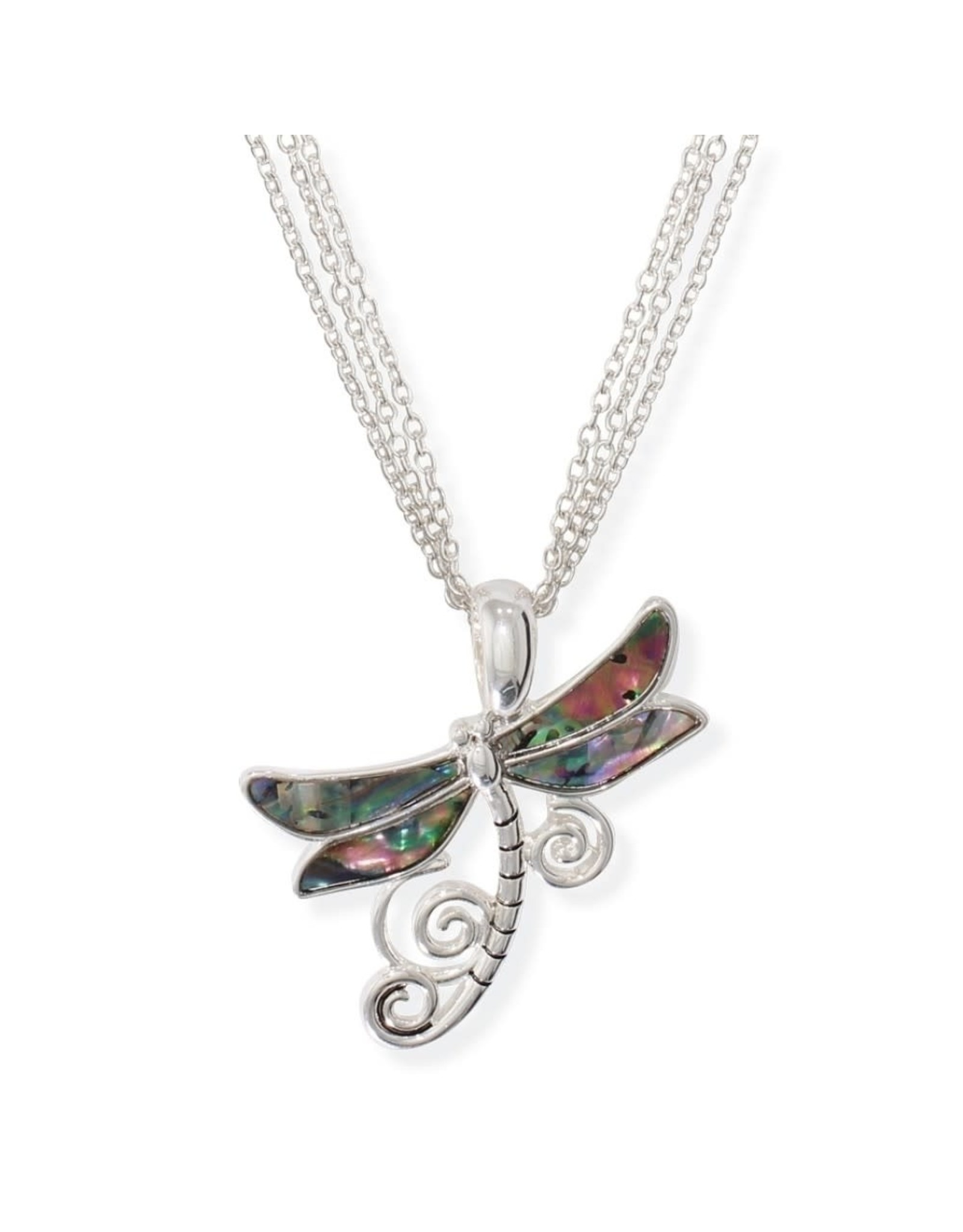 Periwinkle by Barlow 17 Inch  Abalone Inlay Dragonfly Necklace