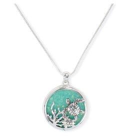 Periwinkle by Barlow 18 Inch Silver Sea Turtle Aqua Inlay Necklace