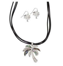 Periwinkle by Barlow 16 Inch  Striking Abalone Palm Tree Necklace