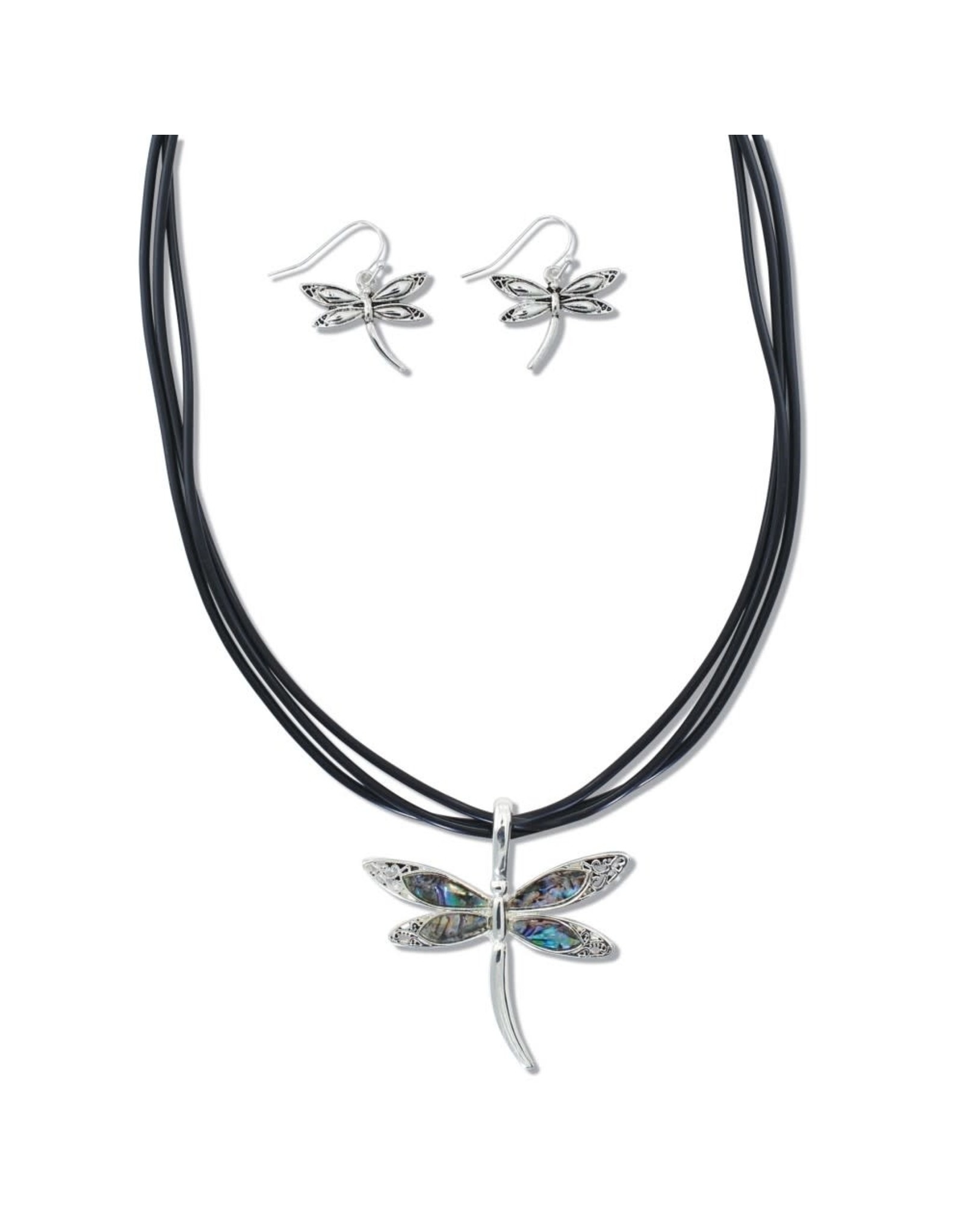 Periwinkle by Barlow Abalone Dragonfly Necklace Set