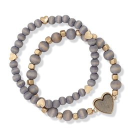 Periwinkle by Barlow Stretch Bracelet Gold Hearts Gray Beads
