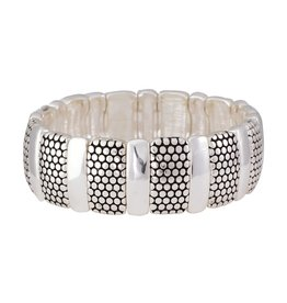 Periwinkle by Barlow Stretch Bracelet Alternating Textured And Smooth Silver
