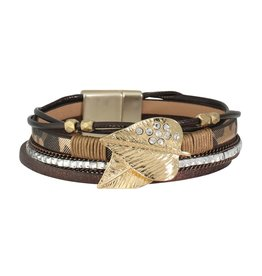Periwinkle by Barlow Graceful Gold Leaves Leather Bracelet
