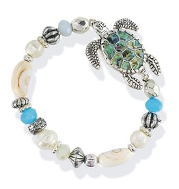 Periwinkle by Barlow Stretch Bracelet Abalone Turtle Beaded