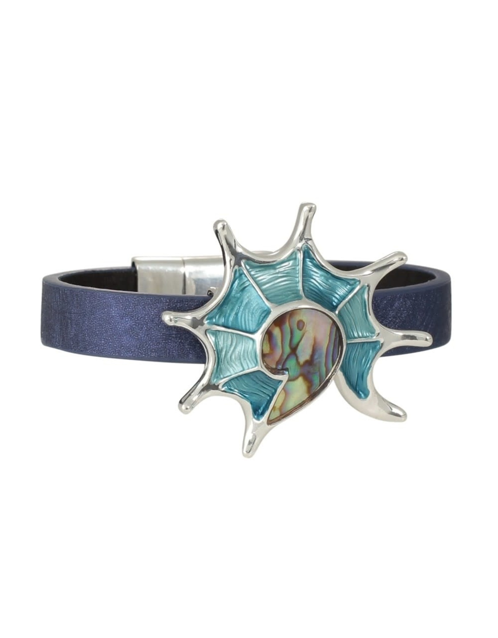 Periwinkle by Barlow Abalone Enamel Inlay Shell Blue Faux Leather Band Bracelet